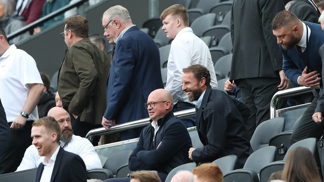 England manager Gareth Southgate in the stands during the Premier League match between Newcastle United and West Ham United, at St James' Park, Newcastle, Britain, on August 15, 2021. (Reuters)