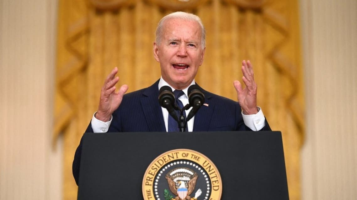 US President Joe Biden delivers remarks on the terror attack at Hamid Karzai International Airport, and the US service members and Afghan victims killed and wounded, in the East Room of the White House, Washington, DC on August 26, 2021. (AFP)