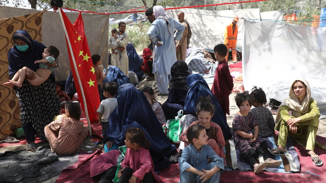 Internally displaced families from northern provinces, who fled from their homes due the fighting between Taliban and Afghan security forces, take shelter in a public park in Kabul, Afghanistan, August 10, 2021. (Reuters)