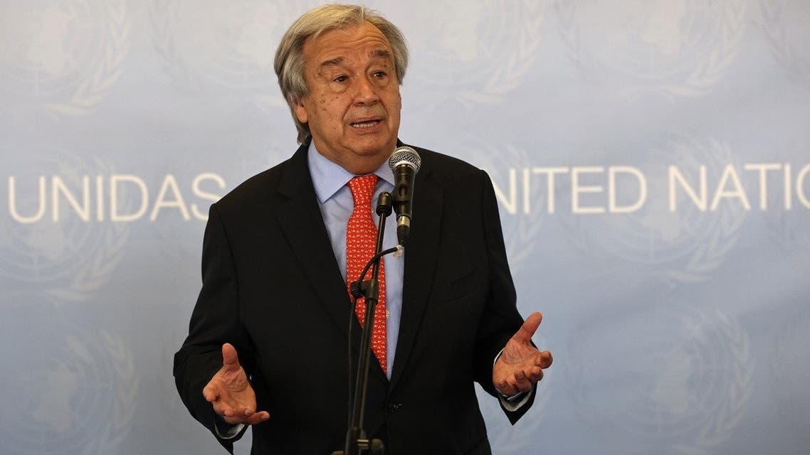 United Nations Secretary general Antonio Guterres gives a press conference during his visit near Valencia, July 1, 2021. (AFP)