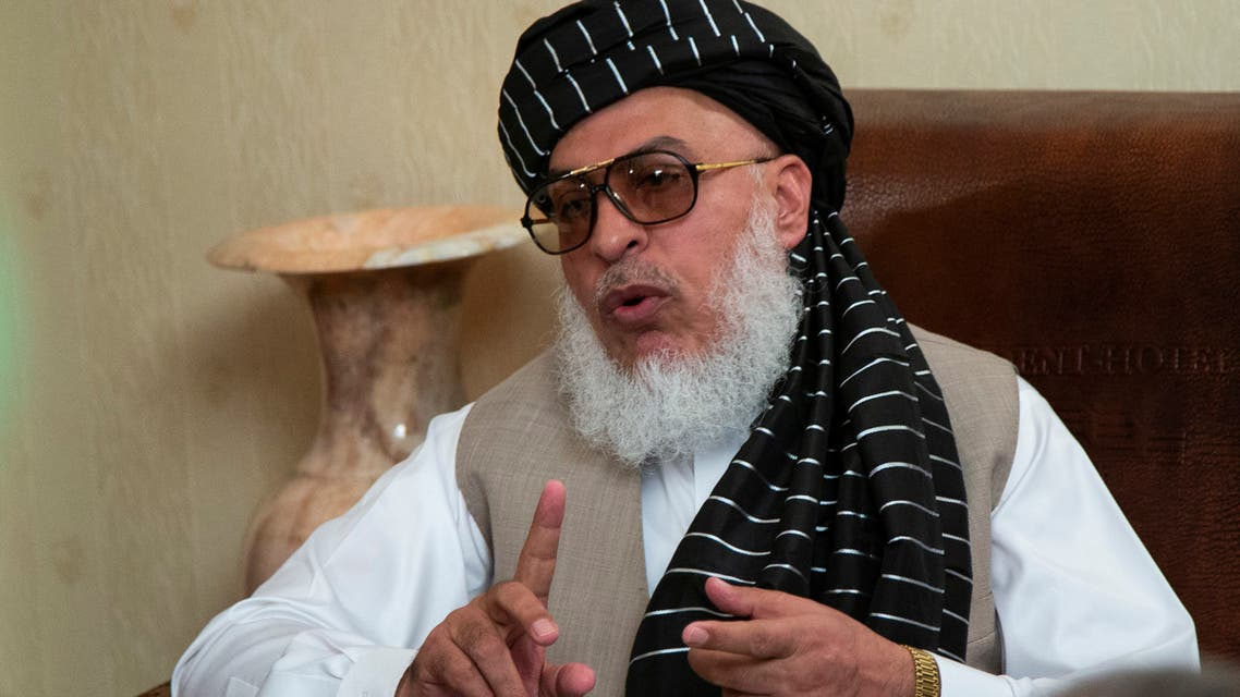 Sher Mohammad Abbas Stanikzai, the Taliban's chief negotiator, speaks to reporters after talks in Moscow, Russia, Tuesday, May 28, 2019. (AP)