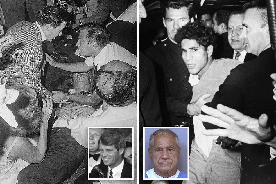 سرحان لحظة القبض عليه في وقت كان السيناتور مستلقيا على ظهره ينازع من أثر الرصاص عليه