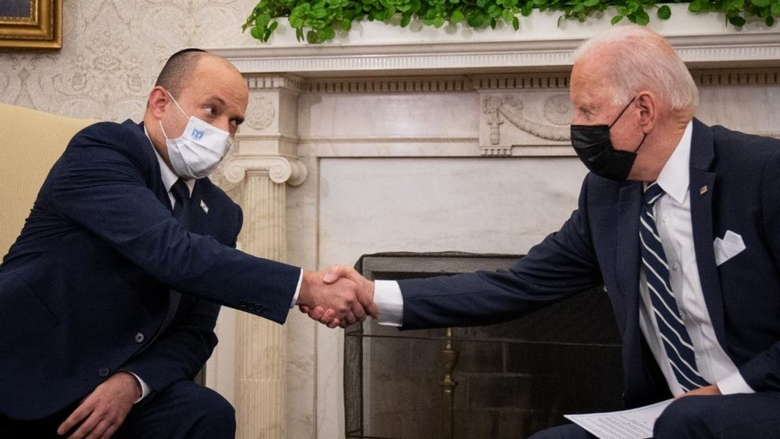 U.S. President Joe Biden meets with Israeli Prime Minister Naftali Bennett in the Oval Office at the White House on August 27, 2021 in Washington, DC. (AFP)