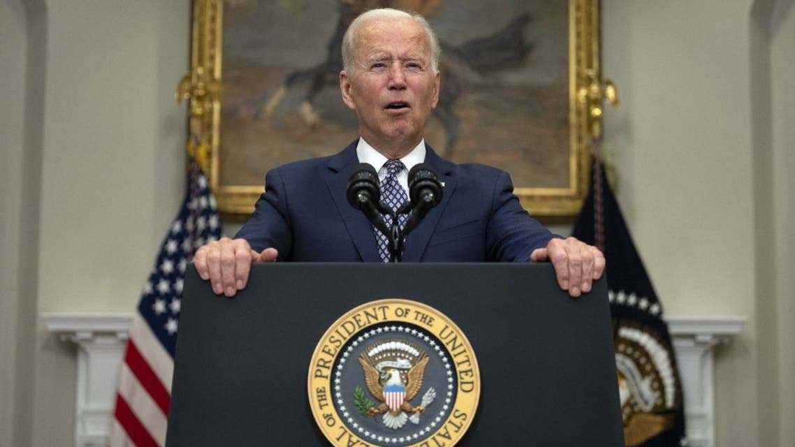 US President Joe Biden speaks about the ongoing evacuation of Afghanistan, on August 24, 2021, from the Roosevelt Room of the White House in Washington, DC. (AFP)