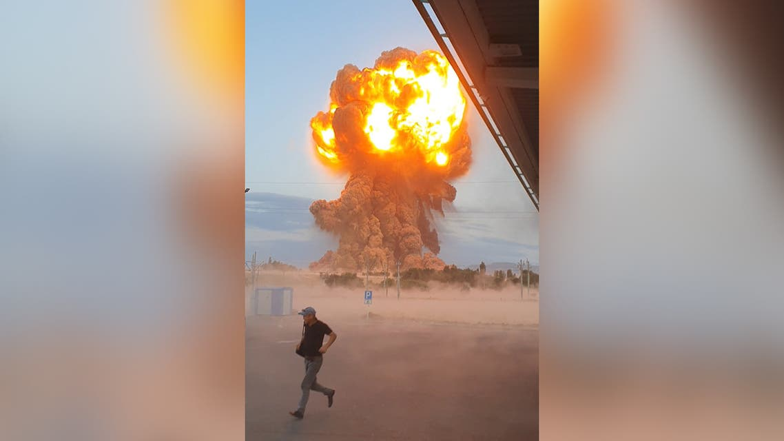 This screen grab from AFP TV video made on August 26, 2021 shows explosions at a defence ministry ammunitions depot in the southern region of Jambyl, about 30kms from Taraz, Kazakhstan. (AFP)