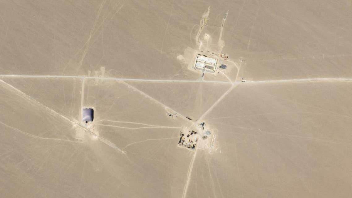This undated handout satellite image obtained on July 29, 2021 courtesy of Planet Labs Inc. shows an image that researchers say are missile silos under construction in the Chinese desert. (AFP)