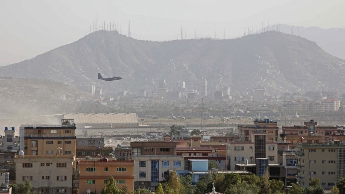 A military aircraft takes off from the military airport in Kabul on August 27, 2021. (AFP)