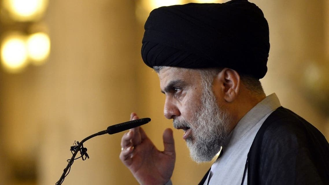 Iraqi Shiite cleric and political leader Moqtada al-Sadr delivers the Eid al-Fitr sermon during the Muslim holiday's morning prayer at the Grand Mosque of Kufa near the central Iraqi shrine city of Najaf. (AFP)