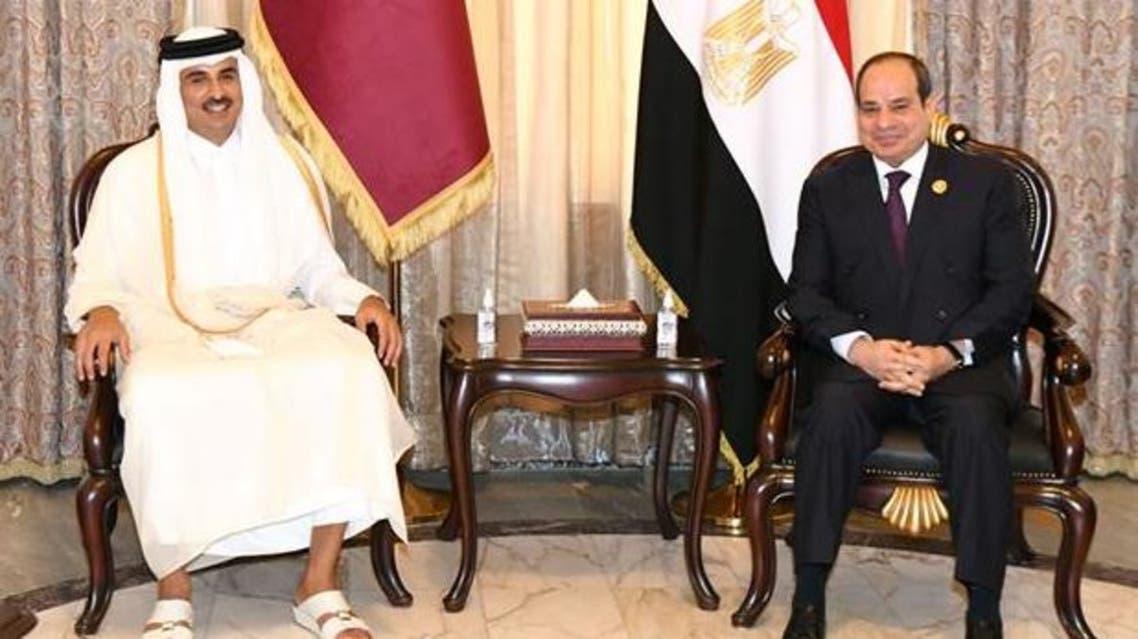 Egypt's President Abdel Fattah al-Sisi met Qatar's Emir Sheikh Tamim bin Hamad al-Thani in Baghdad. (Egyptian Presidency)
