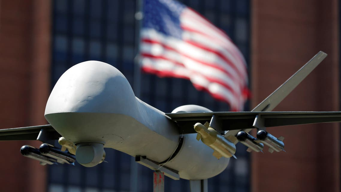 A model of a military drone is seen in front of an U.S. flag as protesters rally against climate change, ahead of the Democratic National Convention, in Philadelphia, Pennsylvania, U.S., July 24, 2016. (File photo: Reuters)