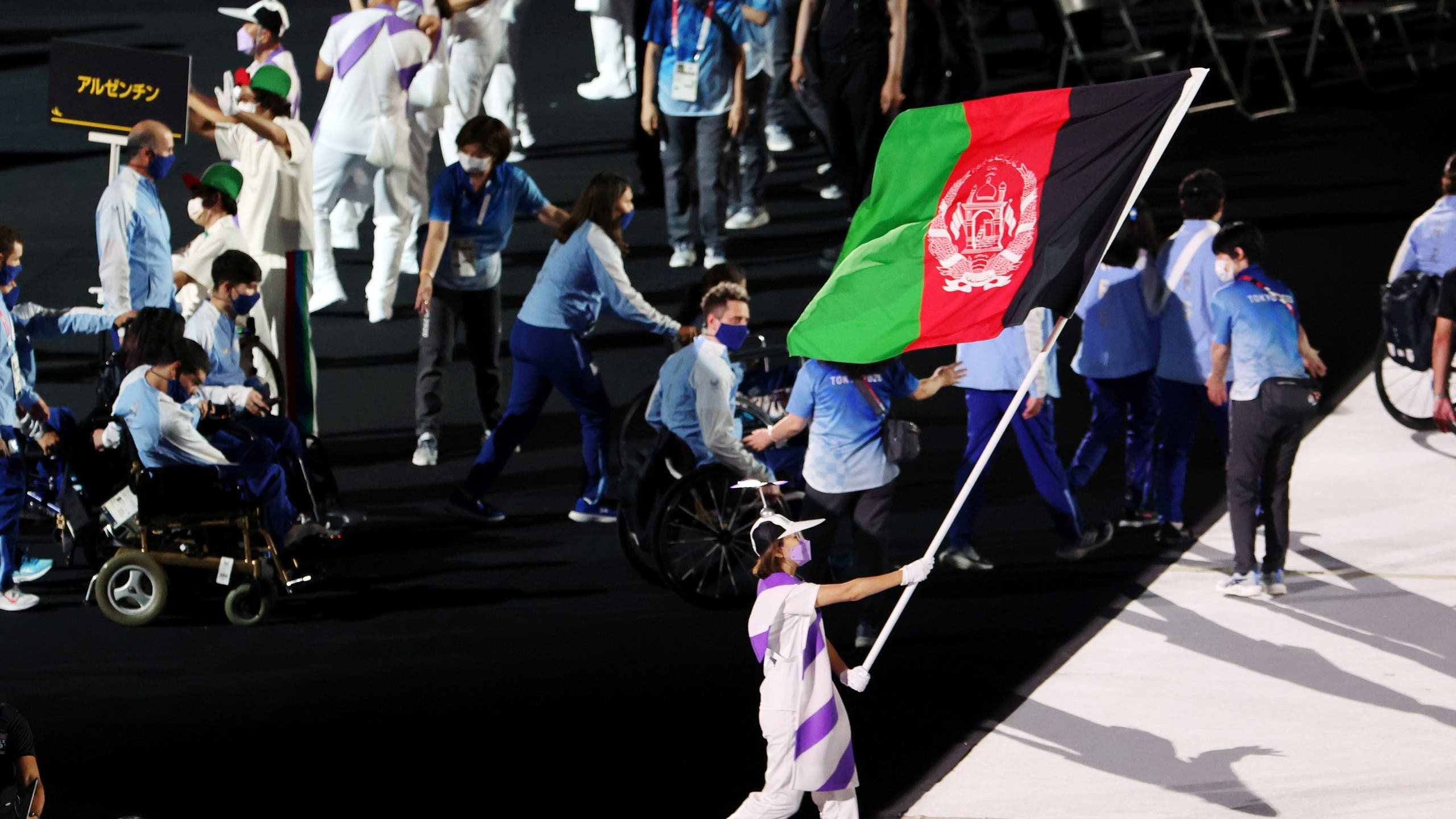 The Afghanistan flag is paraded during the opening ceremony of the Tokyo Paralympics 2020 on August 24 2021. (Reuters)
