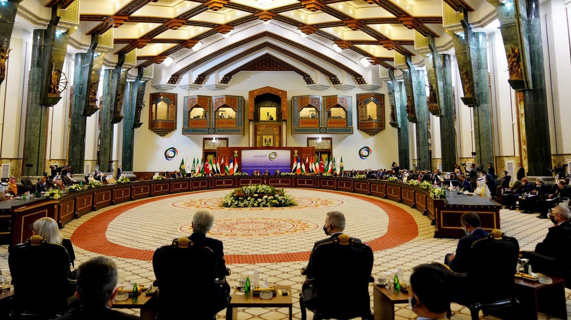 A handout picture released by Iraq's Prime Minister's Media Office on August 28, 2021 a general view of the Baghdad conference in the Iraqi capital.