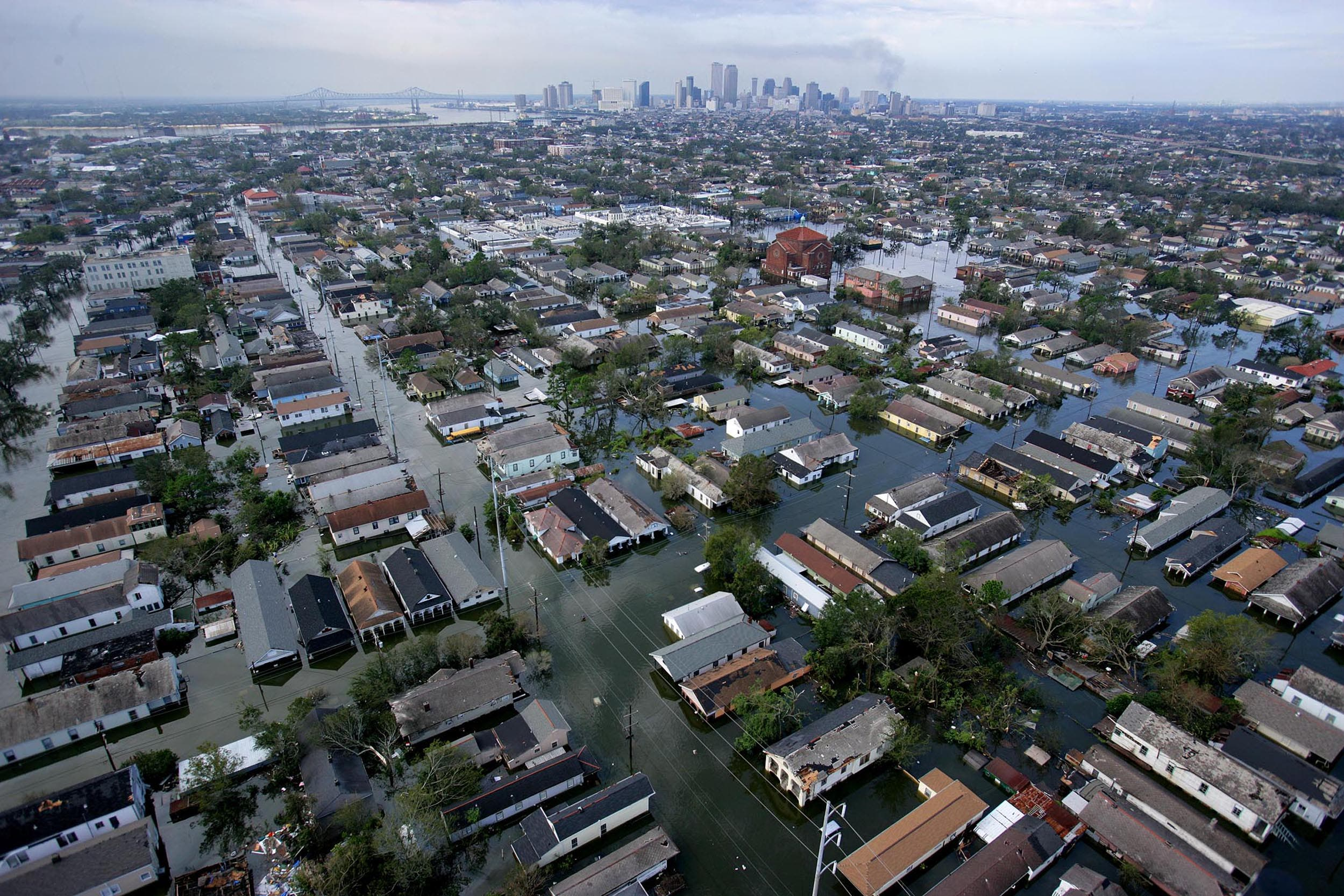 An aerial view of the devastation caused by high winds and heavy flooding in the greater New Orleans area following Hurricane Katrina in Baton Rouge, Louisiana August 30, 2005. Floodwaters engulfed much of New Orleans on Tuesday as officials feared a steep death toll and planned to evacuate thousands remaining in shelters after the historic city's defenses were breached by Hurricane Katrina. (Reuters)