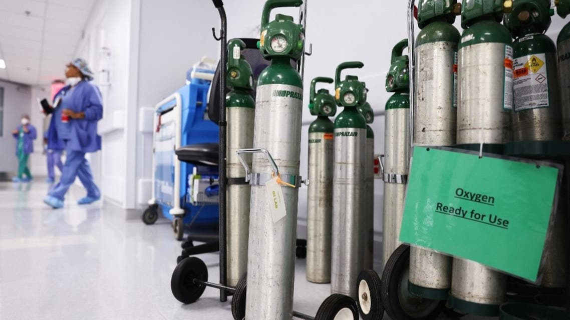 Oxygen tanks are ready for use on a floor dedicated to COVID-19 patients at Lake Charles Memorial Hospital on August 10, 2021 in Lake Charles, Louisiana. (AFP)