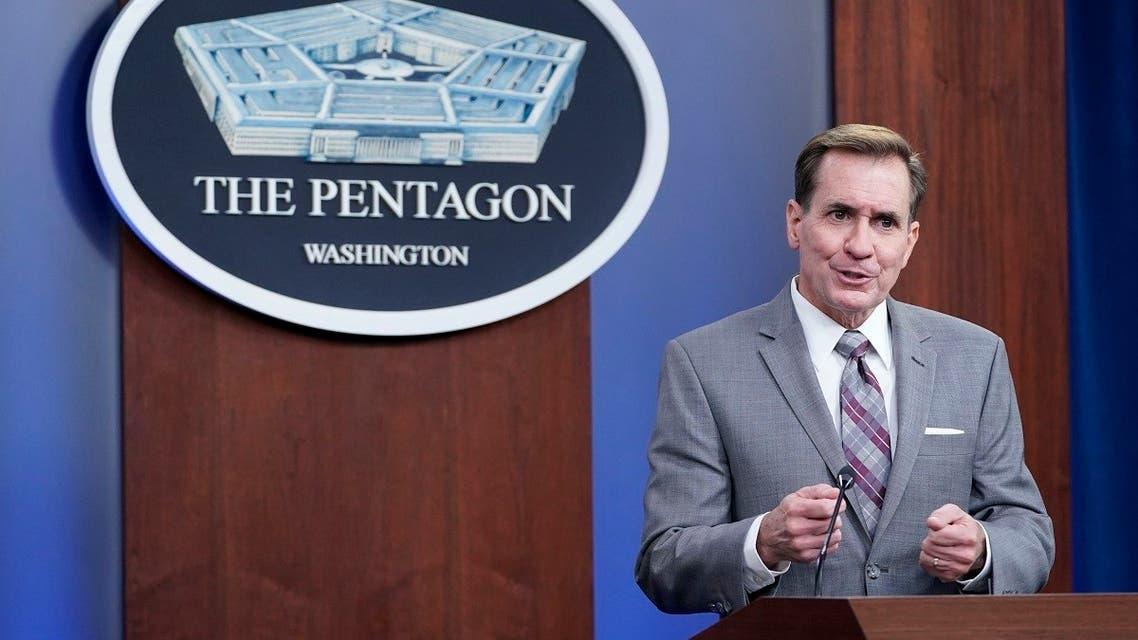 Pentagon spokesman John Kirby speaks during a briefing at the Pentagon in Washington, Saturday, Aug. 28, 2021.  (AP)