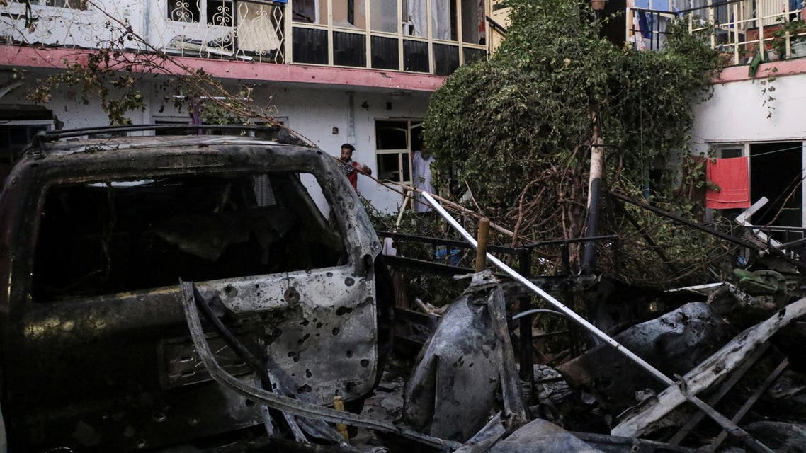 General view of a residence house destroyed after a rocket attack in Kabul, Afghanistan August 29, 2021. (Reuters)