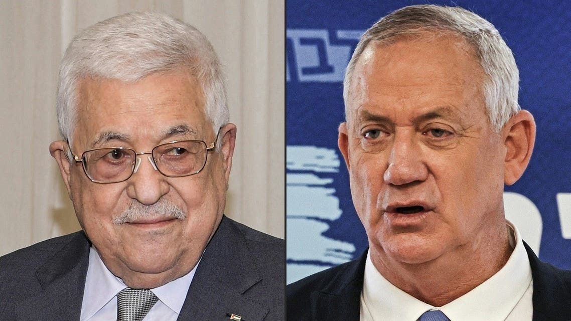 This combination of pictures created on August 30, 2021 shows (L to R) Palestinian president Mahmud Abbas and Israeli Defense Minister Benny Gantz. (Menahem Kahana, Thaer Ghanaim/AFP/PPO)