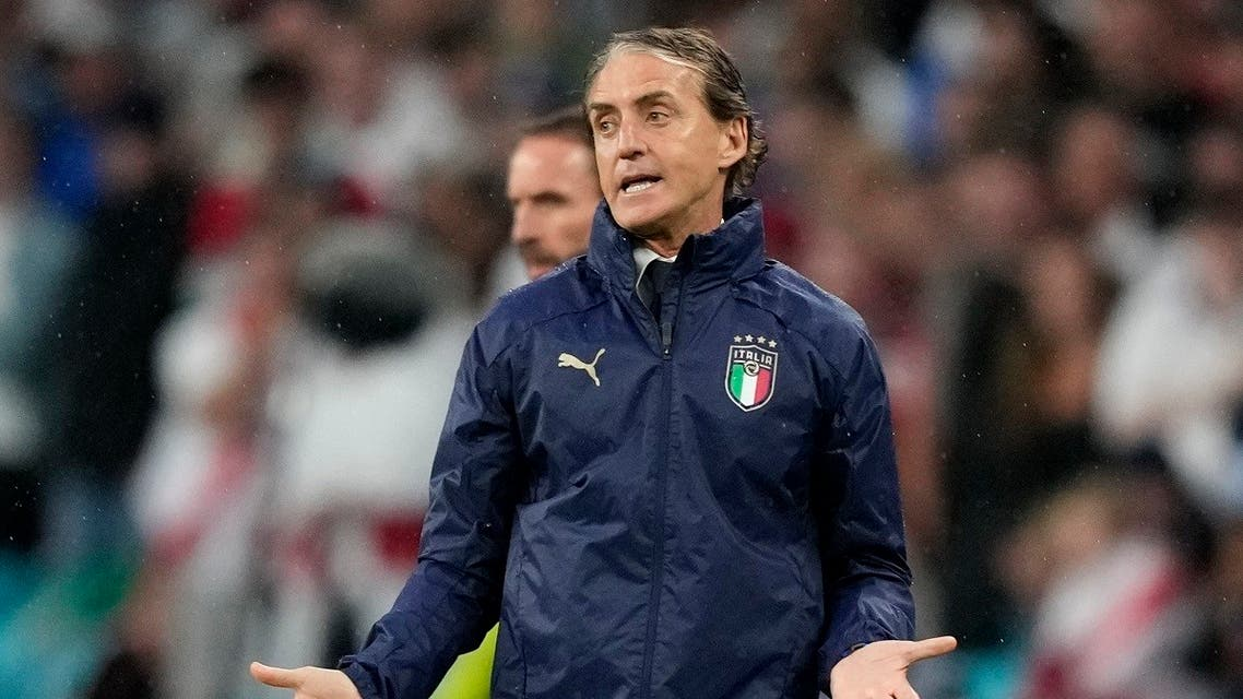 Italy coach Roberto Mancini reacts as England manager Gareth Southgate looks on during the Euro 2020 Final between Italy and England at Wembley Stadium, London, Britain, July 11, 2021. (Pool via Reuters/Frank Augstein)