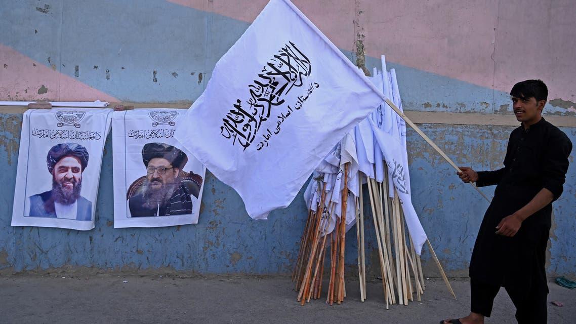 من أحد شوارع كابل، صور وراية لطالبان فرانس برس