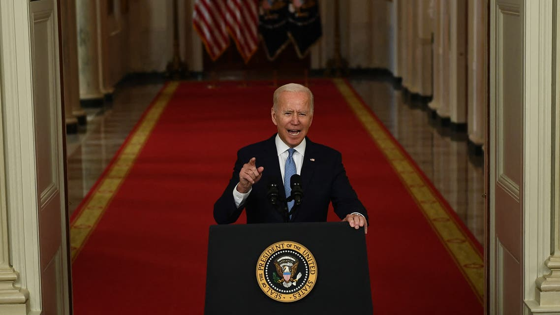 US President Joe Biden speaks on ending the war in Afghanistan in the State Dining Room at the White House in Washington, DC, on August 31, 2021. US President Joe Biden is addressing the nation on the US exit from Afghanistan after a failed 20 year war that he'd vowed to end but whose chaotic last days are now overshadowing his presidency.