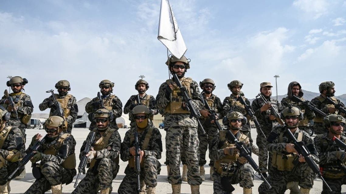 Members of the Taliban Badri 313 military unit take a position at the airport in Kabul on August 31, 2021, after the US has pulled all its troops out of the country. (AFP)