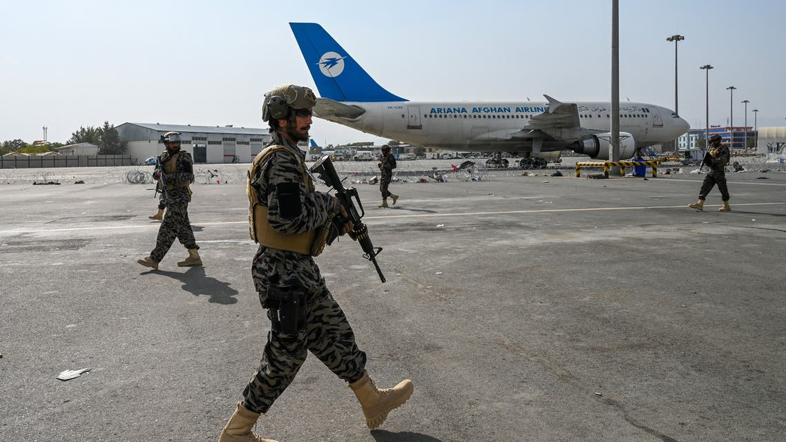 Taliban Badri special force fighters secure the airport in Kabul on August 31, 2021, after the US has pulled all its troops out of the country to end a brutal 20-year war. (AFP)