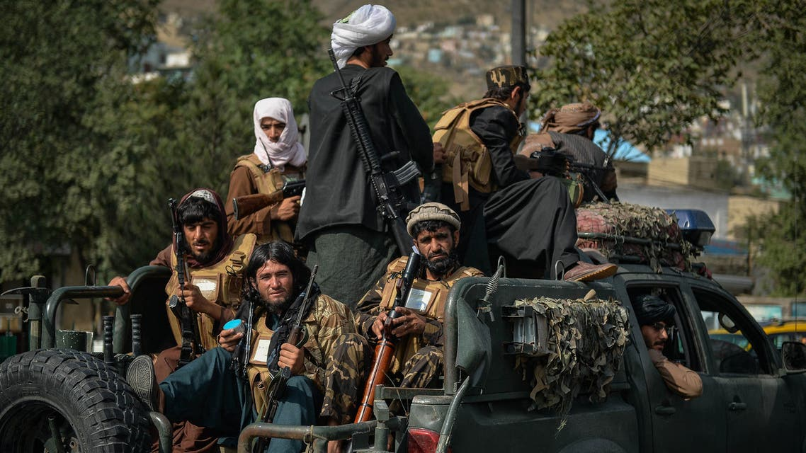 Taliban fighters patrol along a street in Kabul on August 31, 2021. (AFP)
