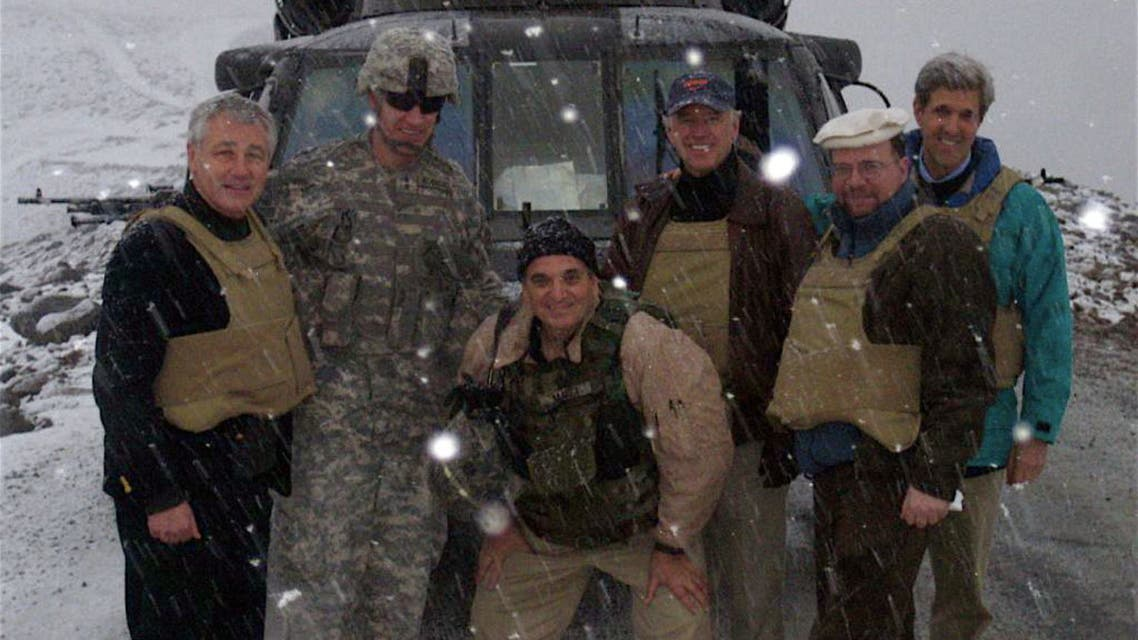 Then-Senators Joe Biden, John Kerry, and Chuck Hagel in Kunar Province in eastern Afghanistan, February 20, 2008. (John Silson/ US Department of State)