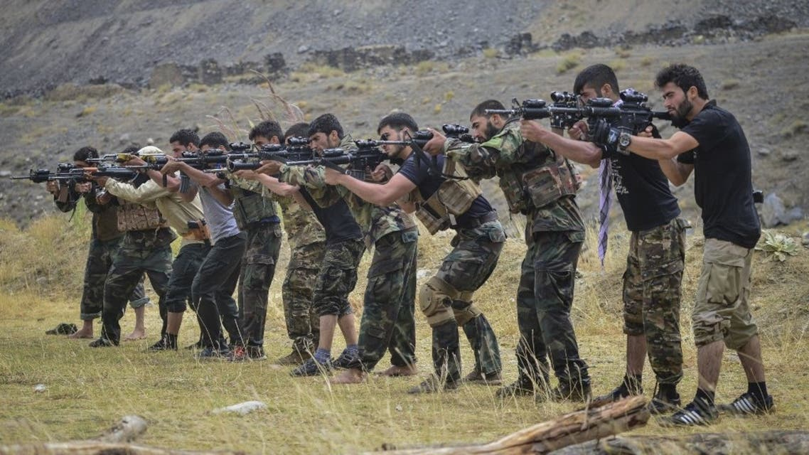 Afghan resistance movement and anti-Taliban uprising forces take part in a military training in Panjshir province on August 30, 2021. (AFP)