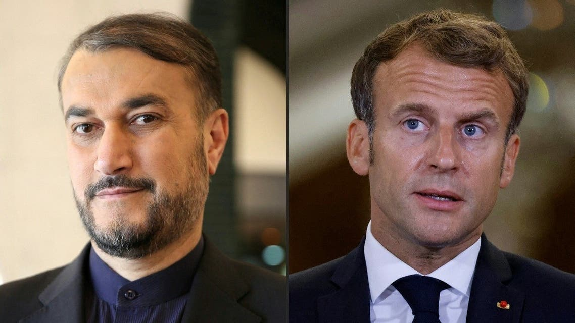 This combination of pictures created on August 31, 2021 shows (L to R) Iran's then-special parliamentary aide on international affairs Amir Abdollahian during the Rafidain Center for Dialogue (RCD) Forum in Baghdad on February 4, 2019; and French President Emmanuel Macron during a diplomatic meeting in Baghdad on August 28, 2021. (Sabah Arar, Ludovic Marin/AFP/Pool)