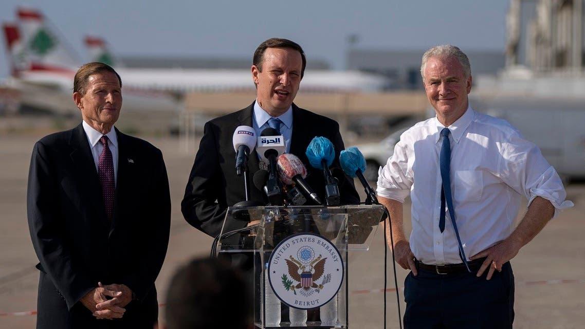 Sen. Chris Murphy, center, Sen. Chris Van Hollen, right, and Sen. Richard Blumenthal, attend a press conference at the Beirut airport, Sept. 1, 2021. (AP)