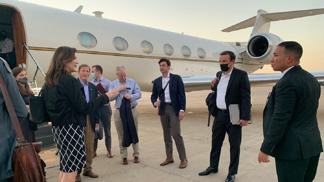 A Senate delegation is welcomed by US Ambassador to Lebanon Dorothy Shea at the Beirut airport, Aug. 31, 2021. (Chris Murphy/Twitter)