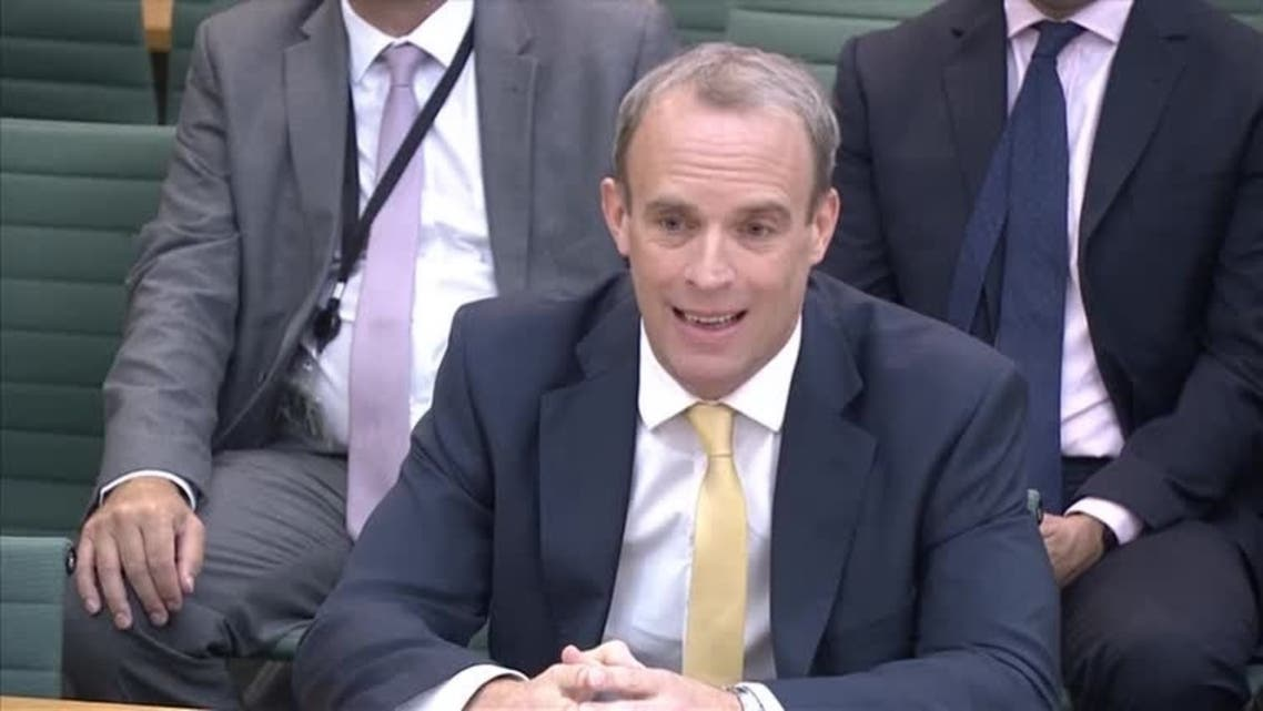 British Foreign Minister Dominic Raab speaking at parliamentary hearing on Britain's withdrawal from Afghanistan, London, UK on September 1, 2021. (UK Parliament TV via Reuters)