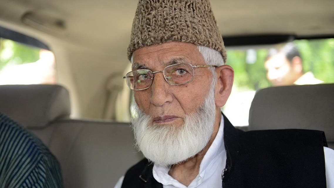 In this file photo taken on August 19, 2014 Kashmiri separatist leader Syed Ali Shah Geelani arrives at the Pakistan embassy in New Delhi. (Sajjad Hussain/AFP)