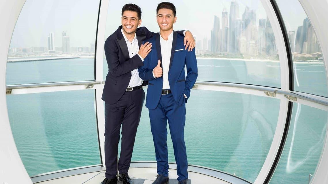 Palestinian artist Mohammed Assaf meets his wax figure in Ain Dubai (Dubai Eye). (Supplied)