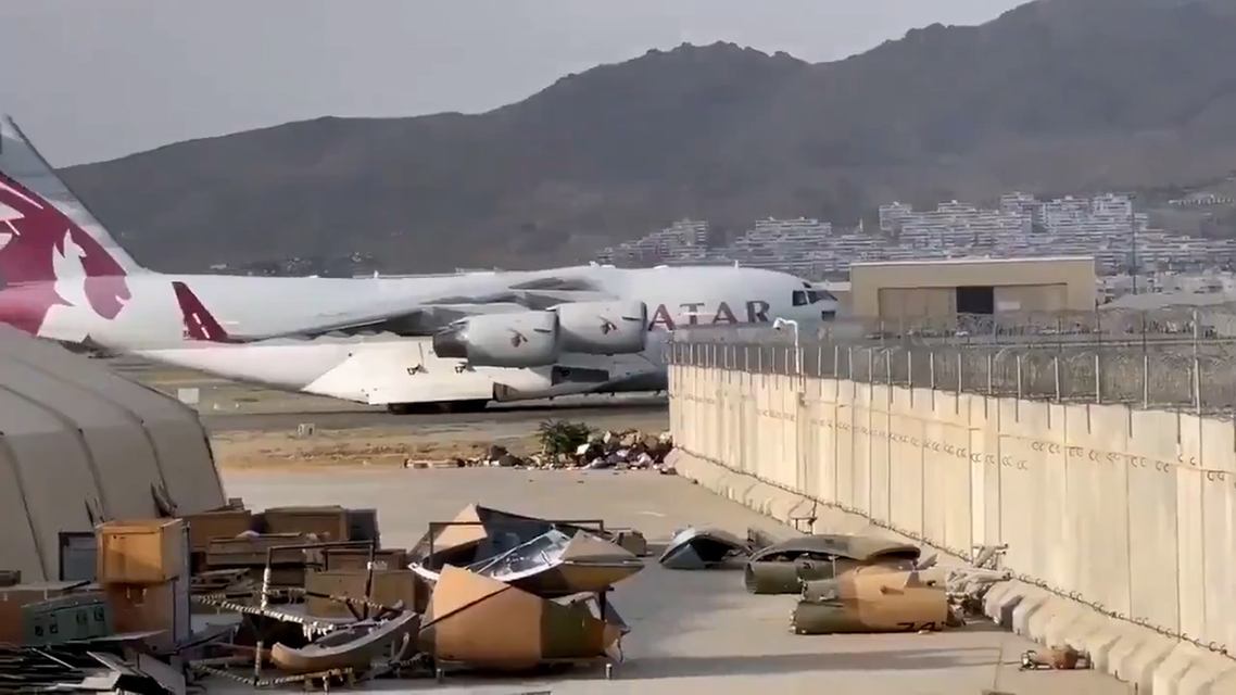 A Qatari aircraft lands in Kabul carrying a technical team to discuss the resumption of airport operations after the Taliban takeover of Afghanistan. (Screengrab)