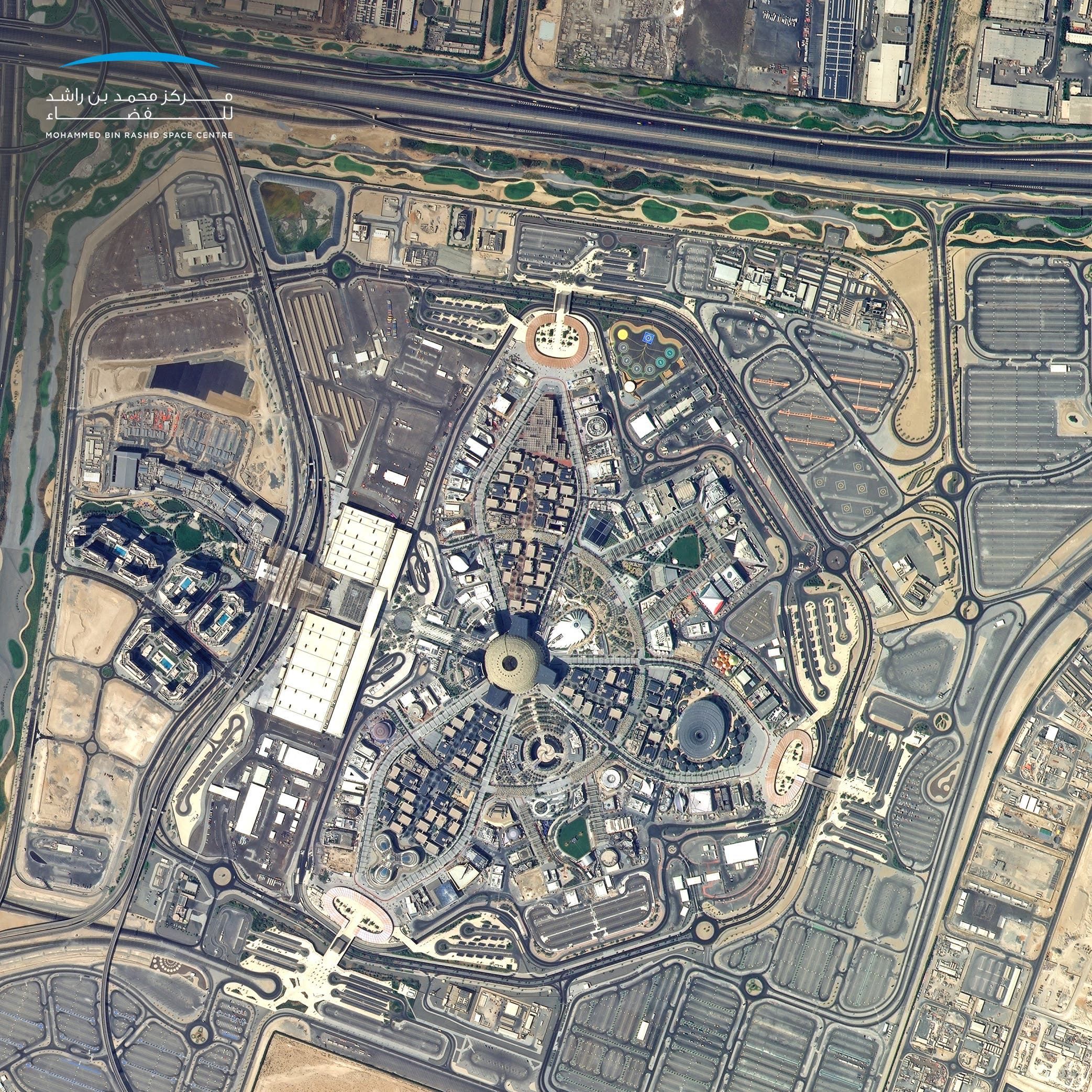 One month to go for the opening of Expo 2020 Dubai. This photo, taken by KhalifaSat from space, shows the site of the global cultural event that will bring together 191 countries in the UAE. (Supplied)