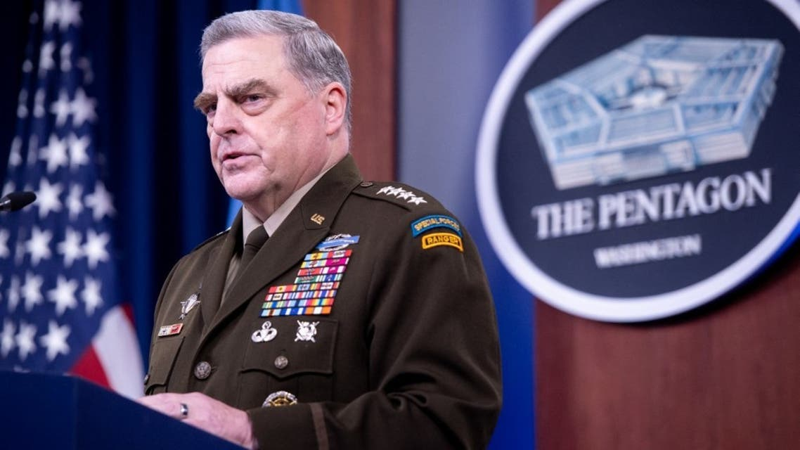 US Army General Mark Milley, Chairman of the Joint Chiefs of Staff, holds a press briefing about the US military drawdown in Afghanistan, at the Pentagon in Washington, DC September 1, 2021. (AFP)