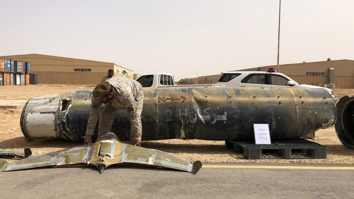A projectile and a drone launched at Saudi Arabia by the Houthis are displayed at a Saudi military base, Al-Kharj, Saudi Arabia June 21, 2019. (File photo: Reuters)