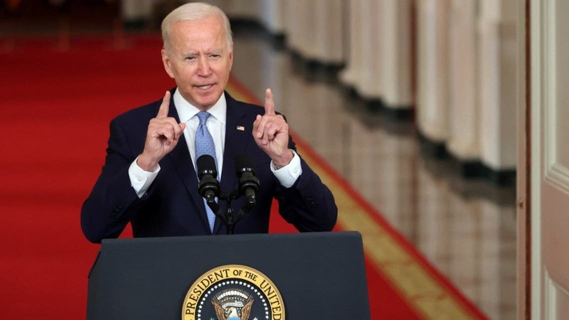 US.President Joe Biden delivers remarks in the State Dining Room at the White House on August 31, 2021 in Washington, DC. (AFP)