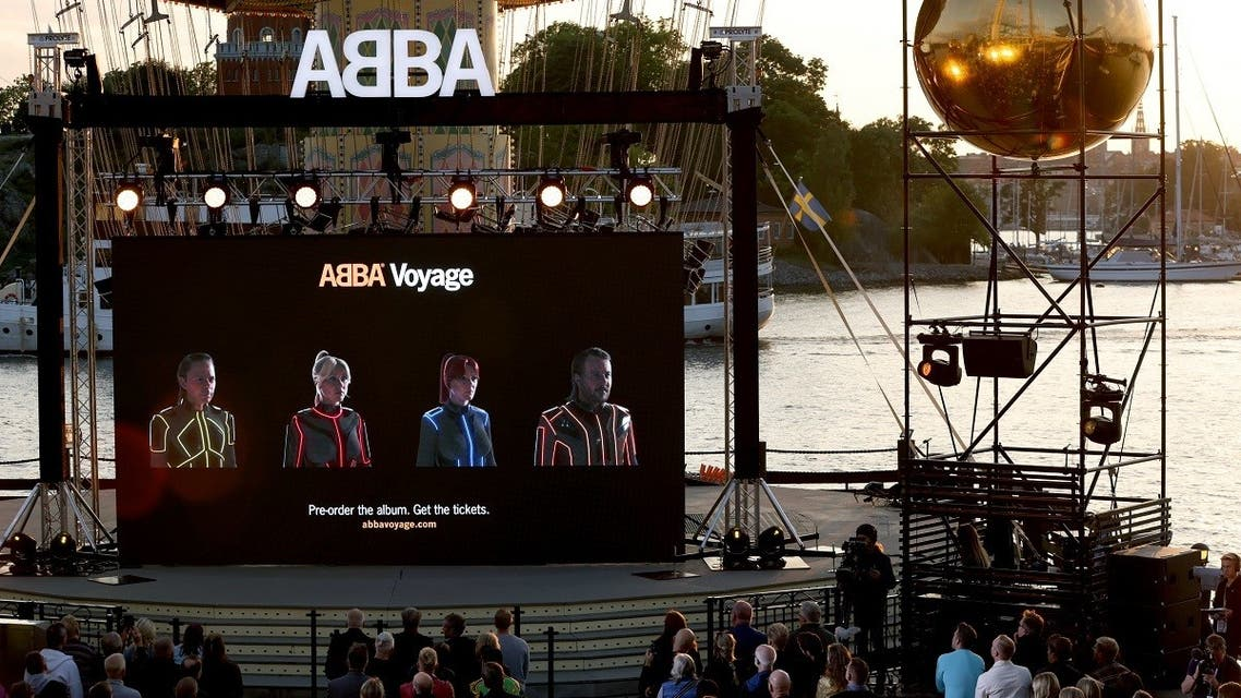 Members of the Swedish group ABBA are seen on a display during their Voyage event at Grona Lund, Stockholm, on September 2, 2021, during their presentation of the first new song after nearly four decades. (Fredrik Persson/TT News Agency/AFP)