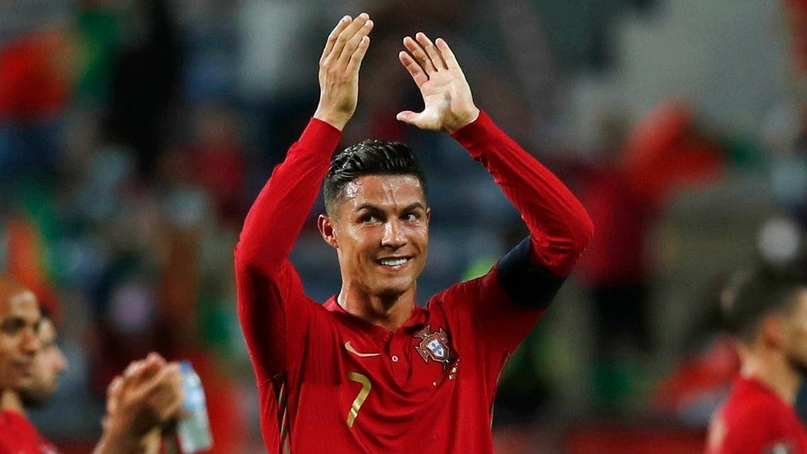Portugal's Cristiano Ronaldo celebrates after the match, Sept.1, 2021. (Reuters)