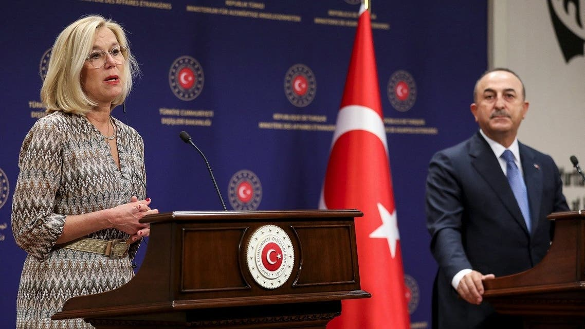 Turkish Foreign Minister Mevlut Cavusoglu (R) and Dutch Minister of Foreign Affairs Sigrid Kaag (L) hold a joint press conference after their meeting in Ankara, on September 2, 2021. (Adem Altan/AFP)
