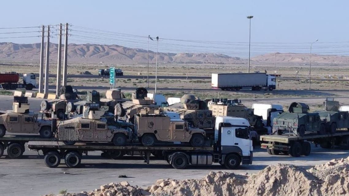 Images shared on Twitter allegedly showing trucks belonging to the Iranian army transporting US Humvees taken from Afghanistan on a highway connecting the central city of Semnan to the city of Garmsar, southeast of the capital Tehran. (Twitter/persianintel)