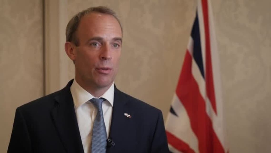 British Foreign Secretary Dominic Raab speaking during visit to Qatar, September 2, 2021. (Reuters)
