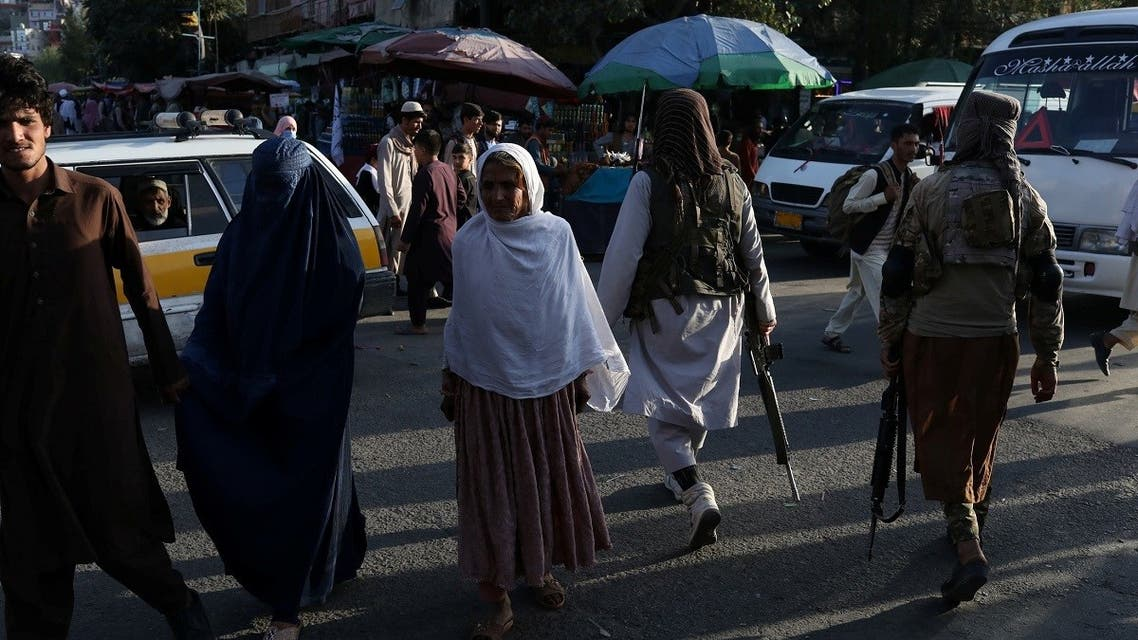 Two Taliban soldiers patrol the city center of Kabul, Afghanistan Sept. 1, 2021. (Reuters)