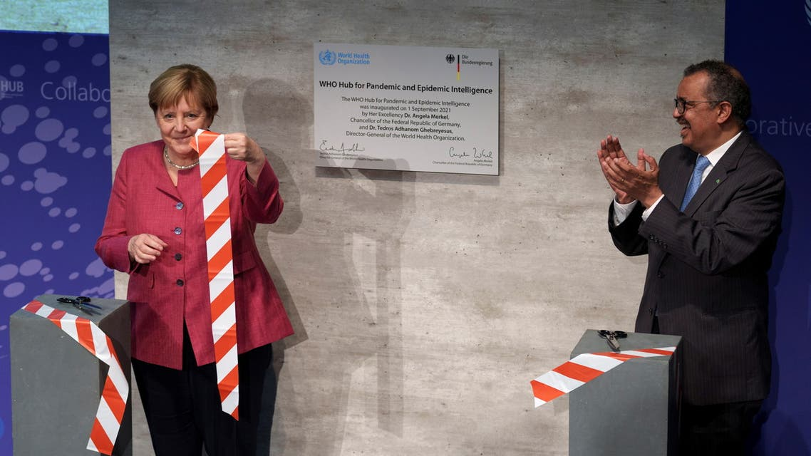 Tedros Adhanom Ghebreyesus (R), Director-General of the World Health Organization (WHO), and German Chancellor Angela Merkel attend the inauguration ceremony of the 'WHO Hub For Pandemic And Epidemic Intelligence' at the Langenbeck-Virchow building in Berlin, Germany, September 1, 2021. Michael Sohn/Pool via REUTERS