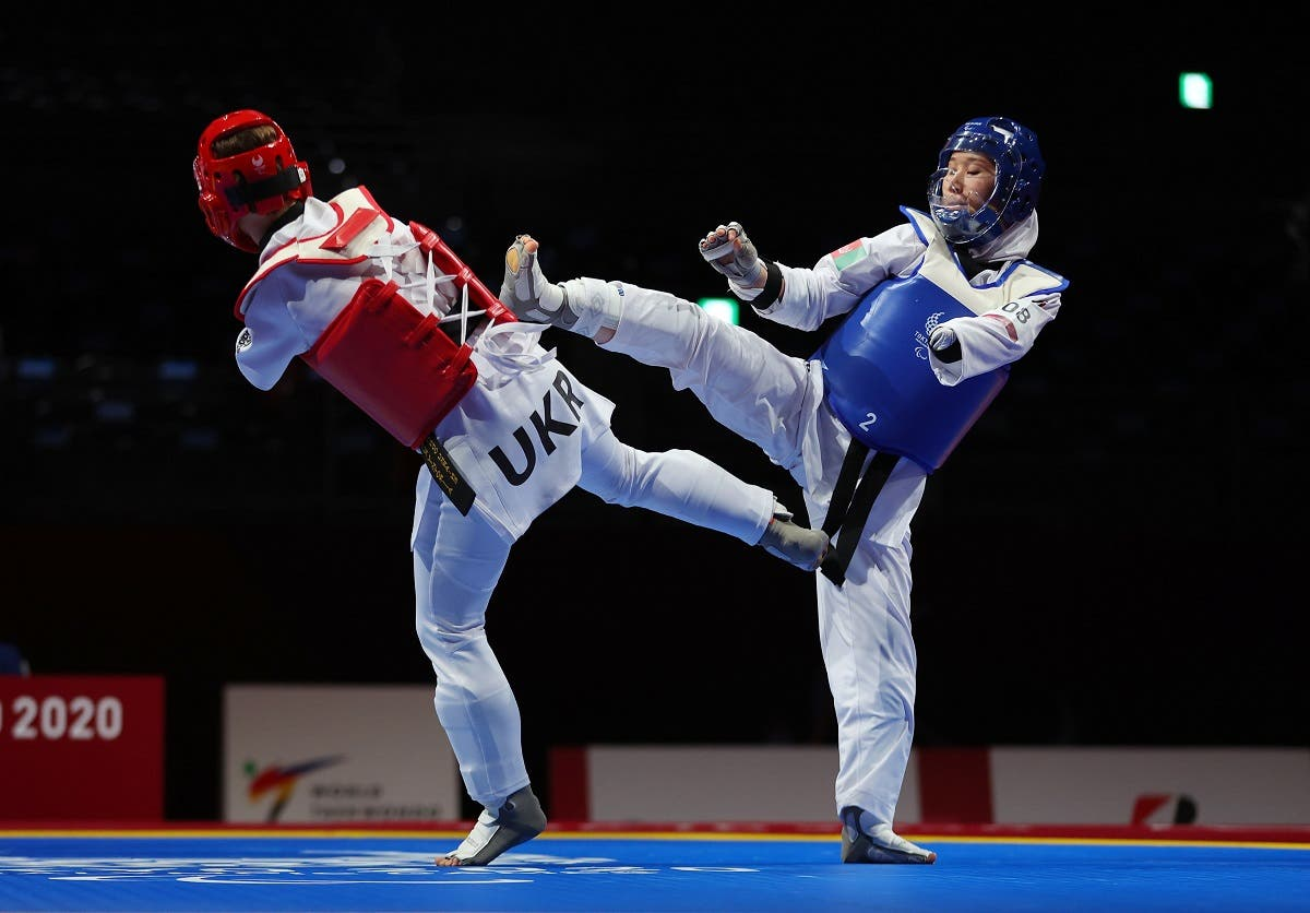 Zakia Khudadadi of Afghanistan in action during her bout against Viktoriia Marchuk of Ukraine at the Tokyo 2020 Paralympic Games on September 2, 202. (Reuters)