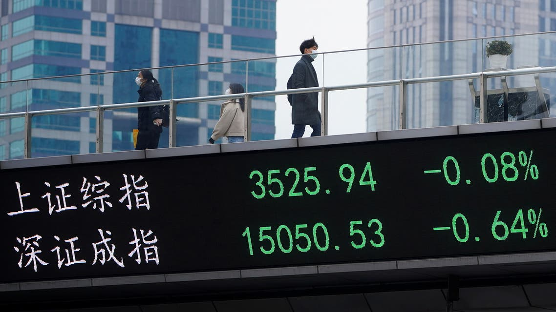 People wearing face masks, following the coronavirus disease (COVID-19) outbreak, walk on an overpass with an electronic board showing Shanghai and Shenzhen stock indexes, at the Lujiazui financial district in Shanghai, China January 6, 2021. REUTERS/Aly Song
