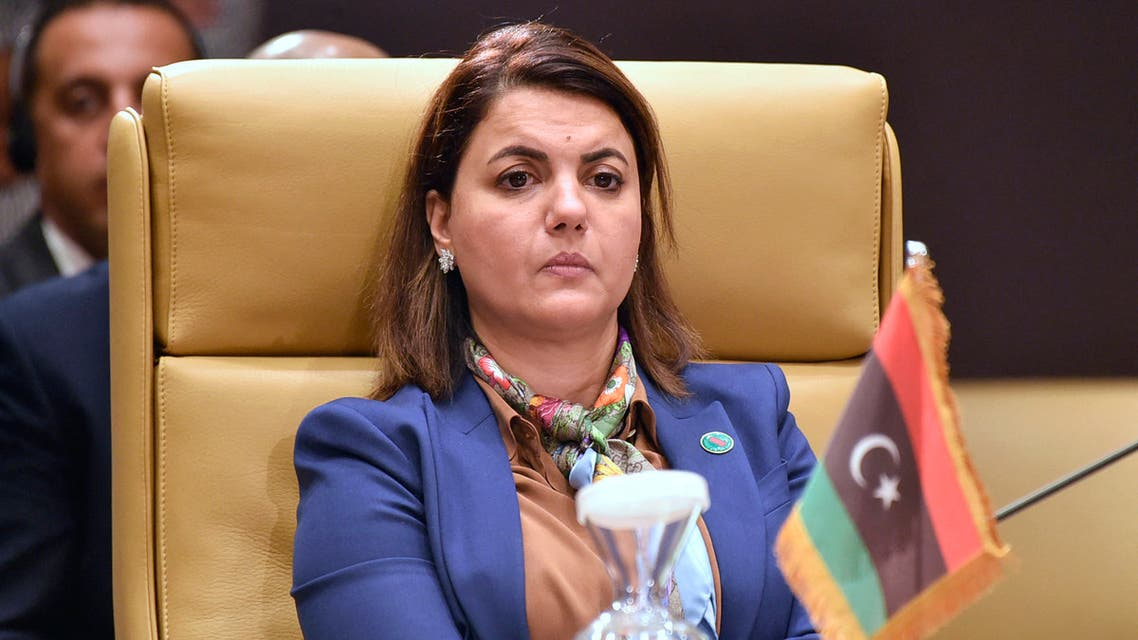 Libya's Foreign Minister Najla al-Mangoush attends a meeting by Libya's neighbours as part of international efforts to reach a political settlement to the country's conflict, in the Algerian capital Algiers, on August 30, 2021.